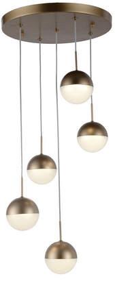 Worldwide Lighting Phantasm 12.5-Watt Matte Gold Tone Finish Integrated Led Iced Opal Acrylic Pendant Ceiling Light