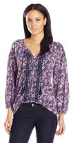 Lucky Brand Women's Embroidered Peasant Printed Top