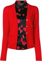 Moschino layered shirt trim cardigan - women - Silk/Cotton - 38