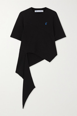 Off-White Asymmetric Embroidered Cotton-jersey T-shirt - Black