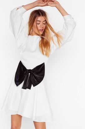 Nasty Gal Womens We Wanna Bow More Balloon Sleeve Mini Dress - White - 8, White