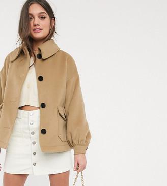 ASOS DESIGN Petite extreme sleeve jacket in camel