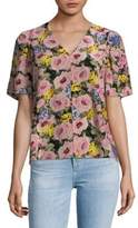 Rebecca Taylor Lavinia Floral Short-Sleeve Silk Top
