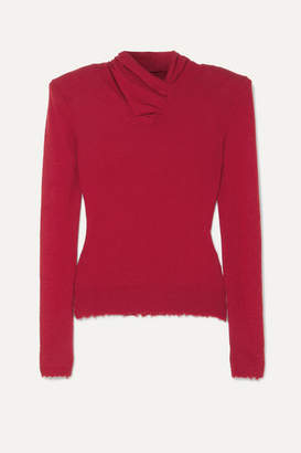 Unravel Project Distressed Ruched Cashmere Sweater - Red