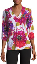 Joan Vass 3/4-Sleeve V-Neck Floral-Print Top