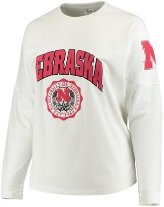 Women's White Nebraska Cornhuskers Plus Size Edith Long Sleeve T-Shirt