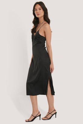 NA-KD Slip Satin Slit Dress