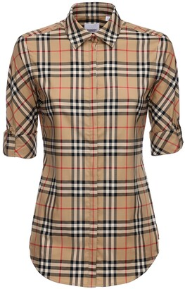 Burberry Luka Checked Stretch Cotton Blend Shirt