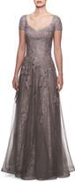 La Femme V-Neck Cap-Sleeve Tulle & Lace A-Line Gown