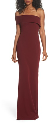 Katie May Titan One-Shoulder Cutout Crepe Gown