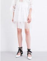Rodarte Tiered honeycomb-lace mini skirt