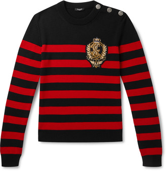 Balmain Logo-Appliqued Button-Embellished Striped Wool And Cotton-Blend Sweater