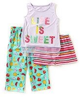 Komar Kids Little/Big Girls 4-16 Fruit Tank, Shorts, & Pants 3-Piece Pajama Set