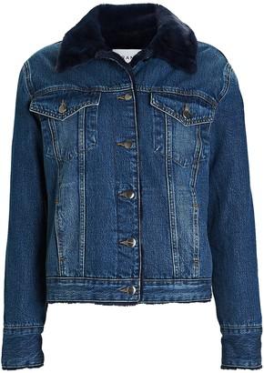 Frame Faux Fur-Lined Denim Jacket
