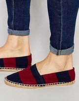 Asos Espadrilles In Navy And Burgundy Wide Stripe Canvas