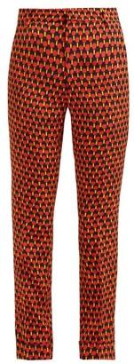La DoubleJ Geometric-print Cropped Capri Trousers - Womens - Red Print