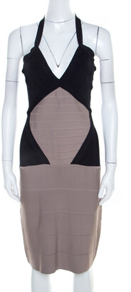 Herve Leger Colorblock Knit Halter Neck Bandage Dress S