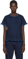 Marques Almeida Indigo Frayed Denim Top
