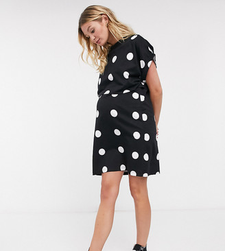Asos Maternity   Nursing ASOS DESIGN Maternity Nursing Exclusive overlay t-shirt mini dress in giant spot