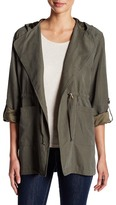 Live A Little Lightweight Tie Front Hooded Jacket (Petite)