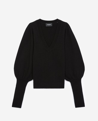 The Kooples Long sweater in wool/cashmere with V-neck