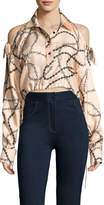 Alexander Wang Cropped Cold-Shoulder Chain-Print Blouse