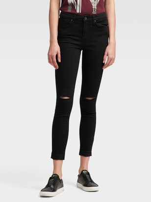 DKNY Women's High-rise Skinny Ankle Jean - Distressed - Black - Size 24