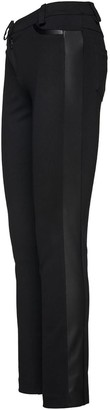 Conquista Black Fitted Jeggings With Faux Leather Detail At The Sides