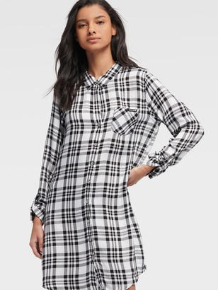 DKNY Women's Plaid Shirt Dress - White/Black - Size XX-Small