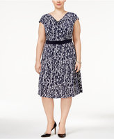 Jessica Howard Plus Size Draped-Neck Dress