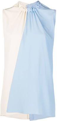 Marni Drawstring-Neck Bi-Colour Sleeveless Top