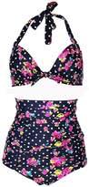Blidece Women Flora Padded Polka Vintage High Waisted Bikini Swimsuits Swimwear Large