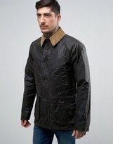 Barbour Truss Dry Wax Jacket Collar Slim Fit In Green