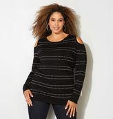 Avenue Stitch Striped Cold Shoulder Sweater
