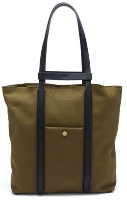 Mismo Raise Two-in-one Canvas & Leather Tote Bag - Khaki