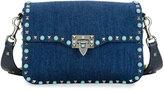 Valentino Rockstud Rolling Denim Guitar-Strap Shoulder Bag, Blue