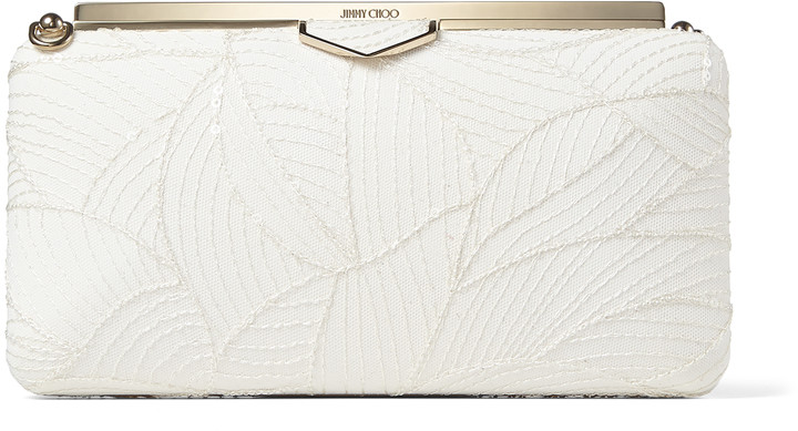 Jimmy Choo ELLIPSE Ivory Suede Clutch Bag with Embroidered Leaves and Sequin Embroidery