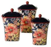 Certified International Watercolor Poppies 3-Piece Spice Canister Set