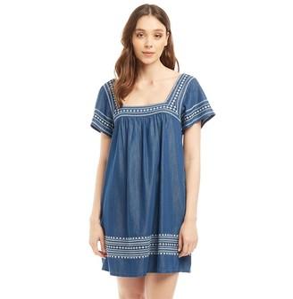 Jack Wills Womens Heatherington Embroidered Dress Mid Indigo