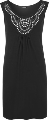 WearAll Ladies Sleeveless Long Stud Top Womens Plus Size Stretch Scoop Neck Black 20