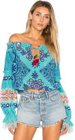Rococo Sand X REVOLVE Off the Shoulder Top in Blue. - size S (also in XS)