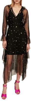 Maje Restar Star Embroidered Mesh Midi Dress