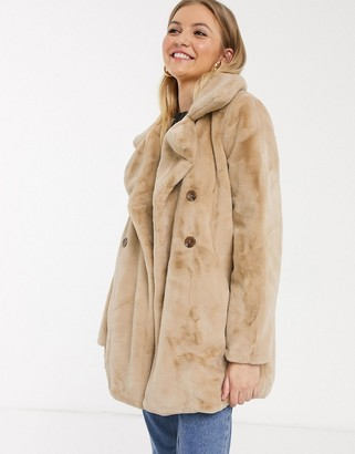 Qed London double breasted faux fur coat in biscuit