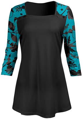 Lily Women's Tunics BLU - Blue & Black Floral Contrast Square Neck Tunic - Women & Plus