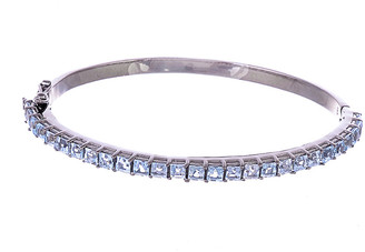 Forever Creations Usa Inc. Forever Creations Silver 3.00 Ct. Tw. Blue Topaz Bangle
