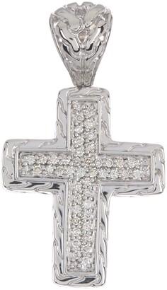 John Hardy Sterling Silver Small Cross Diamond Pendant - 0.22 ctw