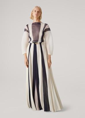 St. John Silky Gauze Pleated Gown