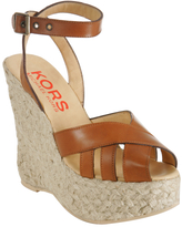 Michael Kors Kors light brown leather 'Sanai' wedges
