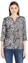 Notations Women's Printed Long-Sleeve Blouse