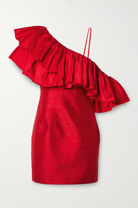 Rasario Ruffled One-shoulder Silk-shantung Mini Dress - Red
